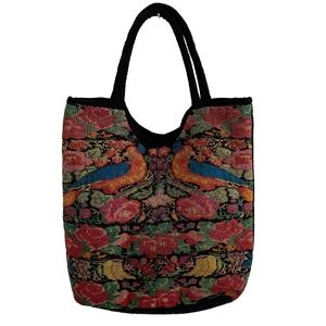 Boho Tapestry Style Shoulder Bag with Bird Print